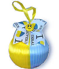 Blue and Yellow Satin Ornament