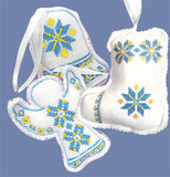 Embroidered Ornaments - Blue-Yellow set of 3