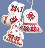 Embroidered Ornaments - Red set of 3