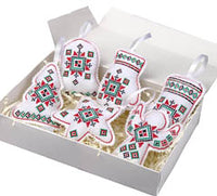Embroidered Ornaments - Red set of 6