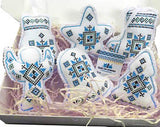 Embroidered Ornaments - Blue set of 6