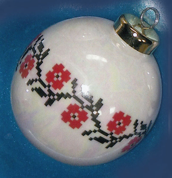 Porcelain Ornament - Floral Wreath Embroidery