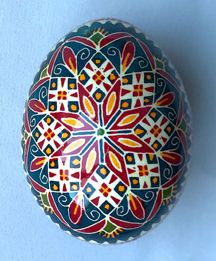 Blue Kaleidoscope Pysanka by Iris