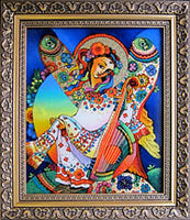 Ukrainian Angel with Bandura, framed