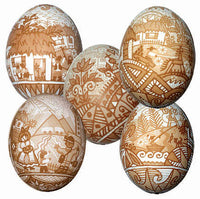 Village Scenes Etched Pysanky