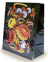 Black Floral Gift Bag 10 x 12.5 in