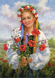 Ukrainian Girl with Poppies Art Card 5x7