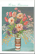 Wedding Card - Tulips & Field Flowers in Vase