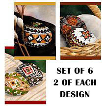 Easter Pysanky - Set of 6 Art Cards