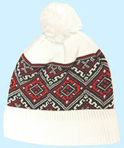 White Embroidered Knit Cap