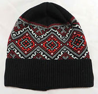 Black Embroidered Knit Cap