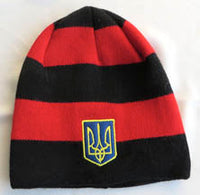 Red and Black Knit Hat with Trident