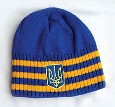 Blue Stripe Knit Hat with Trident