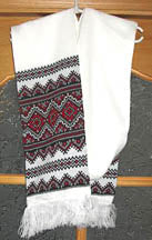 White knit scarf with red-black embroidery design