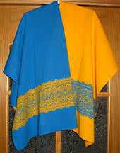 Blue and Yellow Embroidery Design Shawl 24x 72 in