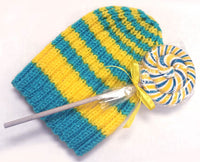 Blue-Yellow Knitted Cap and Lollipop Set