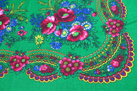 Green Acrylic Floral Shawl 30 in
