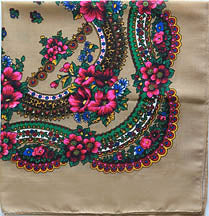 Tan acryllic floral shawl 30 in.