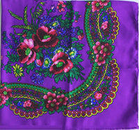 Purple acryllic floral shawl 30 in.