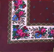 Burgundy acryllic floral shawl 30 in.