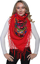 Medium Acrylic Fringed Shawl, Red