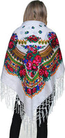Medium Acrylic Fringed Shawl, White