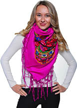 Medium Acrylic Fringed Shawl, Magenta
