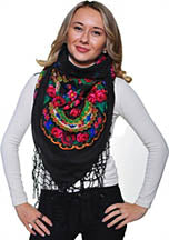 Medium Acrylic Fringed Shawl, Black