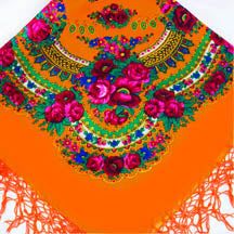 Medium Acrylic Fringed Shawl, Mandarine