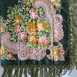 Dark Green Silky Floral Shawl 47 in.
