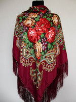Burgundy Floral Shawl 55 in.