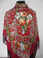 Red Floral Swirl Shawl 55 in
