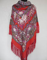 Red Floral Shawl 55 in.