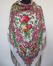 Cream Floral Silky Shawl 55 in.