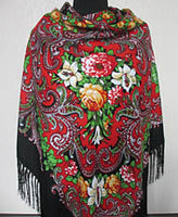Red-Black Floral Shawl 55 in