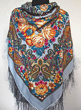 Floral Shawl in Steel 55 in.