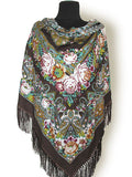 Brown Floral Shawl 55 in.