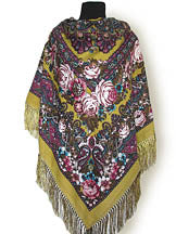 Floral Shawl in Mustard 55 in.