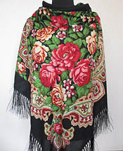 Black Floral Silky Shawl 55 in.