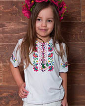 Girls Veselka Short Sleeve White T