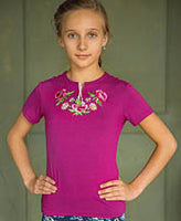 Magenta embroidered stretch T - Girls