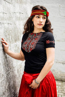 Ladies Red Embroidered Short Sleeve Tshirt