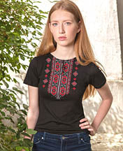 Hutsulka Red Embroidered Tshirt