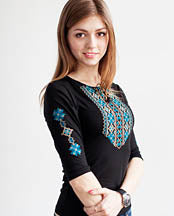 Merezhka 3/4 Sleeve Blue/Black Embroidered  T