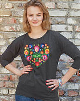 Charcoal With Multicolor Floral Embroidery 3/4 Sleeve Top