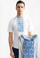 Mens White Embroidered T BLUE design