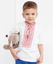 Boy's Short Sleeve Red Embroidered Tshirt