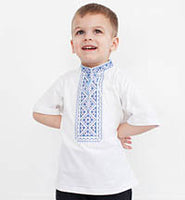 Boy's Short Sleeve Blue Embroidered T