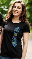 Ladies Black Tryzub Tshirt