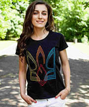 Ladies Black Volia Tryzub Tshirt